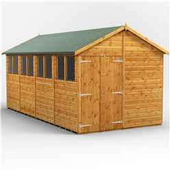 16 x 8  Premium Tongue and Groove Apex Shed - Double Doors - 8 Windows - 12mm Tongue and Groove Floor and Roof