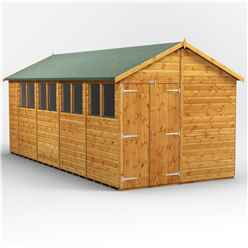 18 x 8  Premium Tongue and Groove Apex Shed - Double Doors - 8 Windows - 12mm Tongue and Groove Floor and Roof
