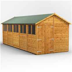 20 x 8  Premium Tongue and Groove Apex Shed - Double Doors - 10 Windows - 12mm Tongue and Groove Floor and Roof