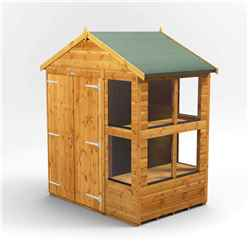 4 x 6 Premium Tongue and Groove Apex Potting Shed - Double Doors - 8 Windows - 12mm Tongue and Groove Floor and Roof