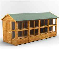 16 x 6 Premium Tongue and Groove Apex Potting Shed - Double Doors - 20 Windows - 12mm Tongue and Groove Floor and Roof