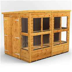 8 x 6 Premium Tongue and Groove Pent Potting Shed - Double Doors - 12 Windows - 12mm Tongue and Groove Floor and Roof
