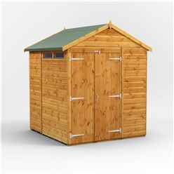 6 x 6 Security Tongue and Groove Apex Shed - Double Doors - 2 Windows - 12mm Tongue and Groove Floor and Roof