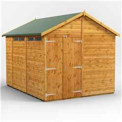 10 x 8 Security Tongue and Groove Apex Shed - Double Doors - 4 Windows - 12mm Tongue and Groove Floor and Roof