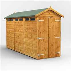 12 x 4 Security Tongue and Groove Apex Shed - Double Doors - 6 Windows - 12mm Tongue and Groove Floor and Roof