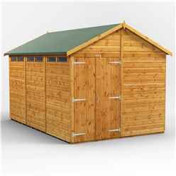 12 x 8 Security Tongue and Groove Apex Shed - Double Door - 6 Windows - 12mm Tongue and Groove Floor and Roof