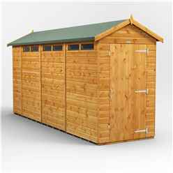 14 x 4 Security Tongue and Groove Apex Shed - Single Door - 6 Windows - 12mm Tongue and Groove Floor and Roof