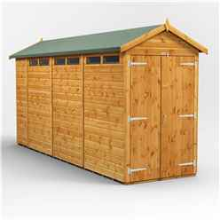 14 x 4 Security Tongue and Groove Apex Shed - Double Doors - 6 Windows - 12mm Tongue and Groove Floor and Roof