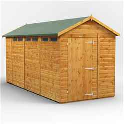 14 x 6 Security Tongue and Groove Apex Shed - Single Door - 6 Windows - 12mm Tongue and Groove Floor and Roof