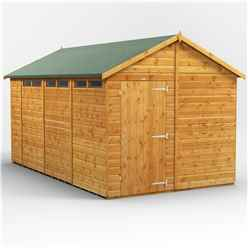 16 x 4 Security Tongue and Groove Apex Shed - Single Door - 8 Windows - 12mm Tongue and Groove Floor and Roof