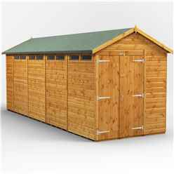 18 x 6 Security Tongue and Groove Apex Shed - Double Doors - 8 Windows - 12mm Tongue and Groove Floor and Roof