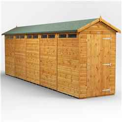 20 x 4 Security Tongue and Groove Apex Shed - Single Door - 10 Windows - 12mm Tongue and Groove Floor and Roof
