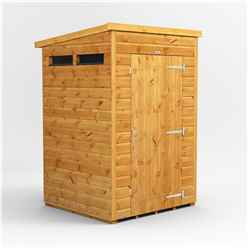 4 X 4 Security Tongue And Groove Pent Shed - Single Door - 2 Windows - 12mm Tongue And Groove Floor And Roof