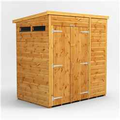 6 X 4 Security Tongue And Groove Pent Shed - Double Doors - 2 Windows - 12mm Tongue And Groove Floor And Roof