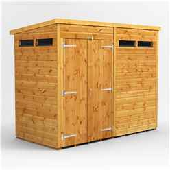 8 X 4 Security Tongue And Groove Pent Shed - Double Doors - 4 Windows - 12mm Tongue And Groove Floor And Roof