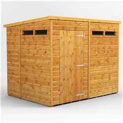 8 X 6 Security Tongue And Groove Pent Shed - Single Door - 4 Windows - 12mm Tongue And Groove Floor And Roof