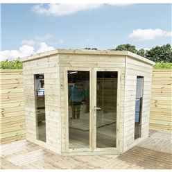 8 x 8 Corner Pressure Treated T&G Pent Summerhouse + Safety Toughened Glass + Euro Lock with Key + SUPER STRENGTH FRAMING