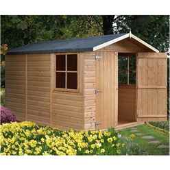 10 x 7 (2.99m x 2.15m) -Tongue And Groove - Apex Garden Wooden Shed - Double Doors - 2 Opening Windows - 12mm Tongue And Groove Floor