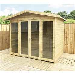 8 x 11 Pressure Treated Tongue And Groove Apex Summerhouse + LONG WINDOWS + Overhang + Safety Toughened Glass + Euro Lock with Key + SUPER STRENGTH FRAMING