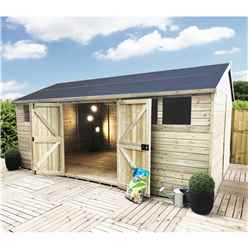 20 x 15 Reverse Premier Pressure Treated T&G Apex Shed With Higher Eaves & Ridge Height 6 Windows & Double Doors (12mm T&G Walls, Floor & Roof) + Safety Toughened Glass + SUPER STRENGTH FRAMIN
