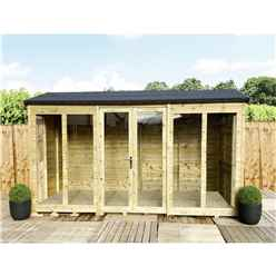12 x 9 REVERSE Pressure Treated Tongue And Groove Apex Summerhouse + LONG WINDOWS + Overhang + Safety Toughened Glass + Euro Lock with Key + SUPER STRENGTH FRAMING