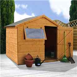 6 x 8 Tongue And Groove Reverse Apex Wooden Shed With 1 Window And Single Door (10mm Solid OSB Floor) - 48hr + Sat Delivery*
