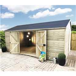 28 x 15 WINDOWLESS Reverse Premier Pressure Treated Tongue And Groove Apex Shed With Higher Eaves And Ridge Height Double Doors (12mm Tongue & Groove Walls, Floor & Roof) + SUPER STRENGTH FRAM