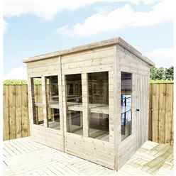 10 x 8 Pressure Treated Tongue And Groove Pent Summerhouse - Potting Shed - Bench + Safety Toughened Glass + Rim Lock with Key + SUPER STRENGTH FRAMING