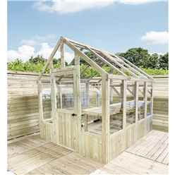 4 x 8 Pressure Treated Tongue And Groove Greenhouse - Super Strength Framing - RIM Lock - 4mm Toughened Glass + Bench + FREE INSTALL