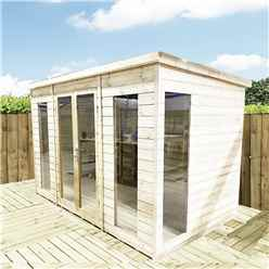 12 x 10 PENT Pressure Treated Tongue & Groove Pent Summerhouse with Higher Eaves and Ridge Height Toughened Safety Glass + Euro Lock with Key + SUPER STRENGTH FRAMING
