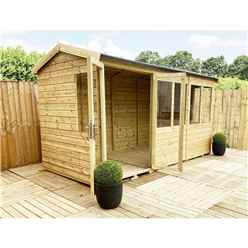 7ft x 13ft REVERSE Pressure Treated Tongue & Groove Apex Summerhouse with Higher Eaves and Ridge Height + Toughened Safety Glass + Euro Lock with Key + SUPER STRENGTH FRAMING