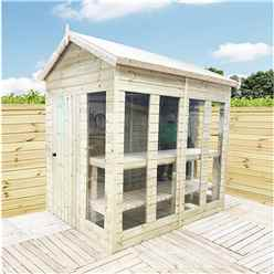 12 x 7 Pressure Treated Tongue And Groove Apex Summerhouse - Potting Shed - Bench + Safety Toughened Glass + RIM Lock with Key + SUPER STRENGTH FRAMING