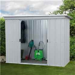 "7ft 5"" x 3ft 5"" Pent Metal Shed + Free Anchor Kit (2.24m x 1.04m)"