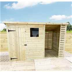 14 X 4 Pressure Treated Tongue And Groove Pent Shed With Storage Area + 1 Window