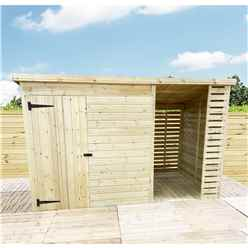 14 X 5 Pressure Treated Tongue And Groove Pent Shed With Storage Area Windowless