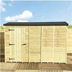 """11 x 4 **Flash Reduction** REVERSE Windowless Super Saver Pressure Treated Tongue And Groove Single Door Apex Shed (High Eaves 72"""")"""