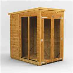 4 X 6 Premium Tongue And Groove Pent Summerhouse - Double Doors - 12mm Tongue And Groove Floor And Roof