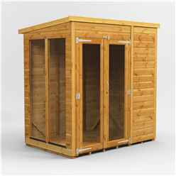 6 X 4 Premium Tongue And Groove Pent Summerhouse - Double Doors - 12mm Tongue And Groove Floor And Roof