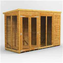 10 X 4 Premium Tongue And Groove Pent Summerhouse - Double Doors - 12mm Tongue And Groove Floor And Roof