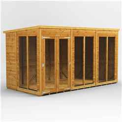 12 X 6 Premium Tongue And Groove Pent Summerhouse - Double Doors - 12mm Tongue And Groove Floor And Roof