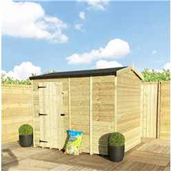 """8 x 8 **Flash Reduction** REVERSE Super Saver Pressure Treated Tongue And Groove Single Door Apex Shed (High Eaves 72"""") Windowless"""
