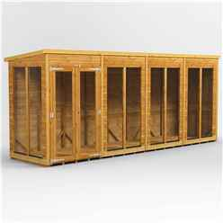 16 X 4 Premium Tongue And Groove Pent Summerhouse - Double Doors - 12mm Tongue And Groove Floor And Roof