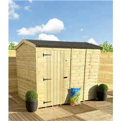 """9 x 8 **Flash Reduction** REVERSE Super Saver Pressure Treated Tongue And Groove Single Door Apex Shed (High Eaves 72"""") Windowless"""