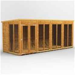 16 X 6 Premium Tongue And Groove Pent Summerhouse - Double Doors - 12mm Tongue And Groove Floor And Roof