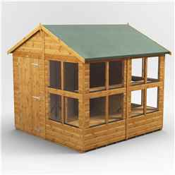 8 x 8 Premium Tongue and Groove Apex Potting Shed - Single Door - 12 Windows - 12mm Tongue and Groove Floor and Roof