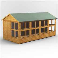 16 x 8 Premium Tongue and Groove Apex Potting Shed - Single Door - 20 Windows - 12mm Tongue and Groove Floor and Roof