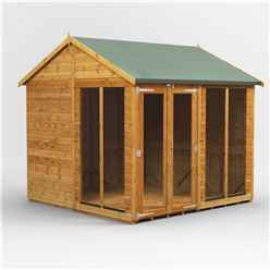 8 X 8 Premium Tongue And Groove Apex Summerhouse - Double Doors - 12mm Tongue And Groove Floor And Roof