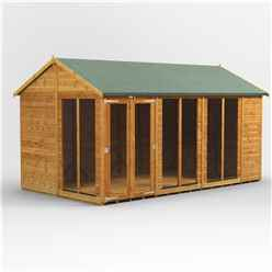 14 X 8 Premium Tongue And Groove Apex Summerhouse - Double Doors - 12mm Tongue And Groove Floor And Roof
