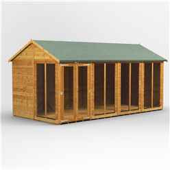 16 X 8 Premium Tongue And Groove Apex Summerhouse - Double Doors - 12mm Tongue And Groove Floor And Roof
