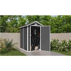 4 x 6 Plastic Pent Shed - Dark Grey with Foundation Kit (included)